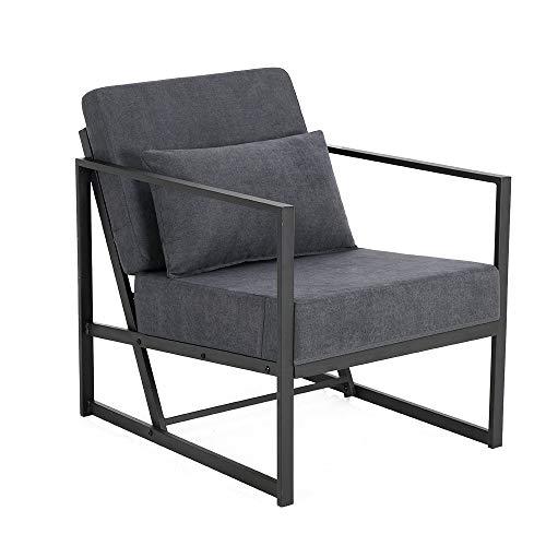 Mingone Gepolsterter Sessel Einzelsofa Mehrsitzsofa Metallrahmen Leinen Weicher Sitz Eleganter Retro-Stuhl für Wohnzimmer Empfang Café(Grau, 60 x 72 x 72 cm)