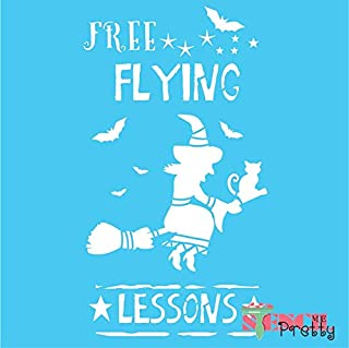 Standard Brilliant Blue Color Material Stencil - Free Flying Lessons Halloween Stencil - Witch Bat & Broom-S (7.75
