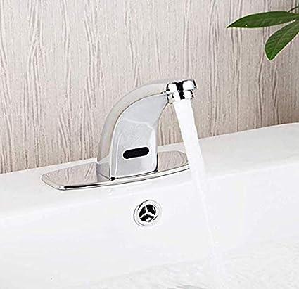 Válvula mezcladora Grifo automático moderno con sensor sin contacto, fuente de alimentación de CA, grifo caliente y frío, grifo for lavamanos con manos libres activado por movimiento, fácil instalació