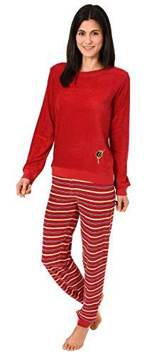 RELAX by Normann Schöner Damen Pyjama mit Bündchen in Frottee Qualität - Hose Geringelt - 291 201 13 771, Farbe:rot, Größe2:36/38