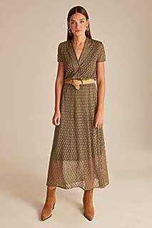 Join Us-Ajurlu V Yaka Simli Astarlı Triko Elbise