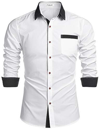 Tinkwell Hemd Herren Langarm Regular fit Businesshemd spleißen Hemden Kentkragen Knopfleiste Einfarbig Hemden für Männer(Weiß,S