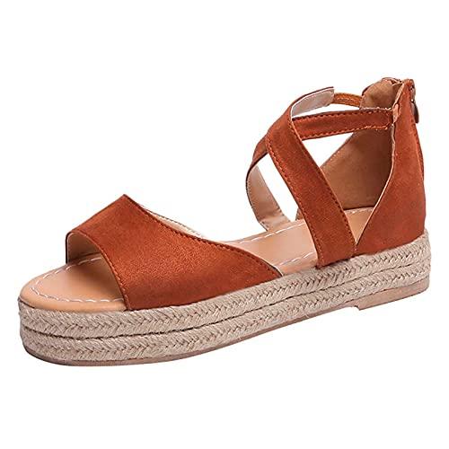 URIBAKY - Sandalias con plataforma para mujer, con cierre de cremallera, tejidas, Marrón (marrón), 39 EU