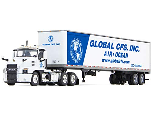 Mack Anthem Day Cab with 53' Dry Goods Trailer Global CFS, Inc. White and Blue 1/64 Diecast Model by DCP/First Gear 60-0821 -  Die Cast Promotions (DCP)