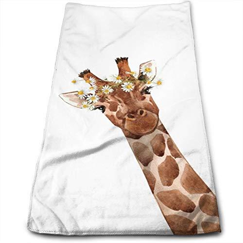 N/W Watercolor Cute Giraffe Hand Towels for Bathroom 27.5'' X 12'' Soft Microfiber Towel Floral Daisy Garland Small Bath Towels Kitchen Dish Towel