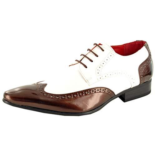 Herren, Brogue-Schuh, Abendgarderobe, Lackleder-Optik, spitz zulaufender Zehenbereich, Größen 40-46, braun - braun / weiß - Größe: 42 2/3 EU