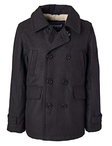 Sportoli Boy Classic Wool Blend Sherpa Winter Dress Pea Coat Peacoat Jacket - Black (Size 10/12)