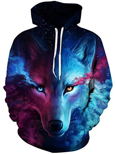 Spreadhoodie Wolf Kapuzenpullover Herren Damen 3D Blau Druck Lustig Funky Grafik Hooded Sweatshirt Pullover Tops L