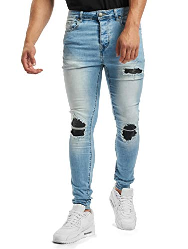 Sixth June Herren Skinny Jeans Denim with Inside Biker Yoke blau W 30