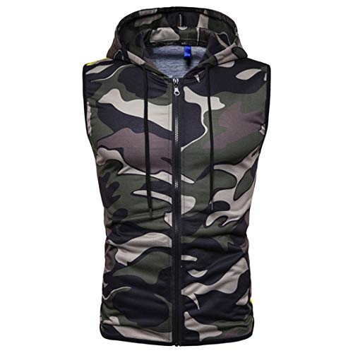 MENHG Men's Drawstring Camouflage Padded Gilet Water Resistant Rain Coat Microfibre Vest Body Warmer Hooded Sleeveless Reversible Jacket Full Zip Pullover Hoodies Slim Fit Puffer Tank Tops Shirts