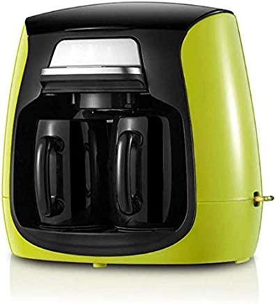 AMAZACER Full-Automatic Household Coffee Maker with Double Cups American Coffee Machine,Green (Color : Green)