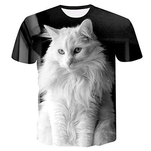 Neues Cooles T-Shirt mit Katzenmuster Sommer lässig Kurzarm O-Ausschnitt Tops 3D Katze gedruckt Streetwear Animal Men Kleidung