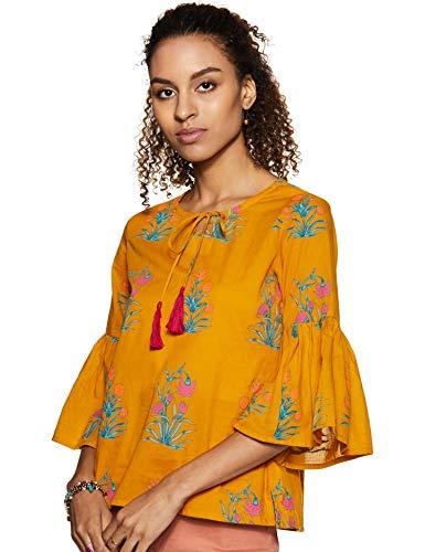 Amazon Brand - Myx Women's Floral Regular Fit 3/4 Sleeve Cotton Top (SS19MYXTP020C2_Mustard L)