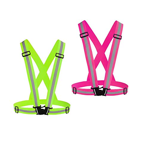 Chiwo Reflective Vest Running Gear 2Pack, High Visibility Adjustable Safety Vest for Night Cycling,Hiking, Jogging,Dog Walking, Construction safe (Green Pink)