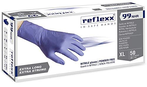 Reflexx R99, Guanti Hi-Risk in Nitrile senza Polvere Gr. 8.9, 50 Pezzi, Blu, L