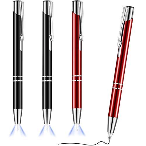 4 Stücke Beleuchteter Spitze Stift Kugelschreiber mit Licht Taschenlampe LED Lichtstift LED Taschenlampe Leuchtend Stift zum Schreiben im Dunkeln (Schwarz und Rot)