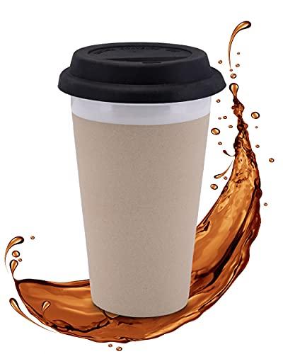 Lambda Coffee® - Doppelwandiger Kaffeebecher to go 280ml aus Keramik | Isolierbecher hält 2h warm & 4h kalt | hält den Kaffee warm & angenehm anzufassen | Thermobecher hygenisch zu reinigen