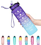 Venture Pal 32oz Motivational Fitness Sports Water Bottle with Time Marker & Straw, Large Wide Mouth Leakproof Durable BPA Free Non-Toxic-Ombre Purple Green