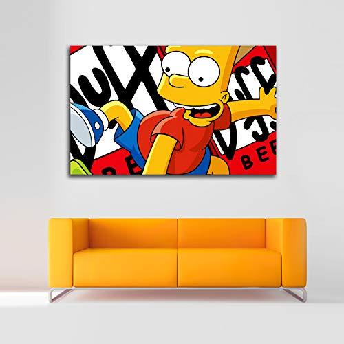 Desconocido Cuadro Lienzo Bart Simpson The Simpsons – Varias Medidas - Lienzo de Tela Bastidor de Madera de 3 cm - Impresion en Alta resolucion (50, 31)