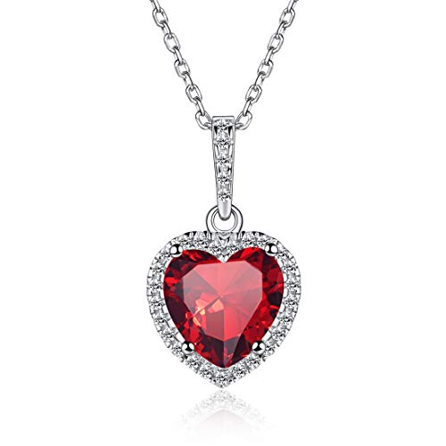 Love Heart Necklaces Created July Birthstone Necklace Created Ruby Necklace Sterling Silver Necklace