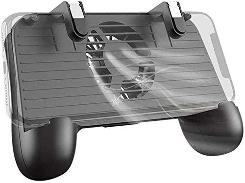 YUYANDE Controlador de Juegos móviles, 4 disparadores Controlador de Juego móvil con Ventilador de enfriamiento Soporte Ajustable para PUBG/Call DE DESPORTE [Modo de Dedo] Gaming Grip Gamepad (Negro