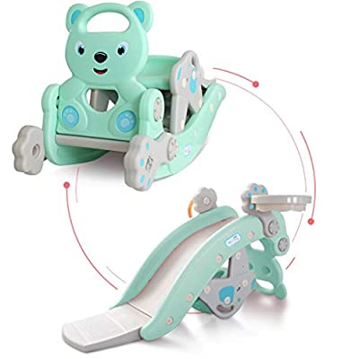 Kids Rocking Horse Slide Toy, 4-in-1 Outdoor Slides and Rocking Horse Toys Include Rocking Horse/Slide Toy/Basketball Hoop/Ring Toss Game, Toddler Playground Slide Climber for Kids Ages 3-8 (Green)