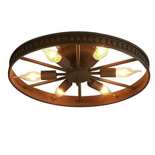FDJYHFG Deng Retro Industrial Black Wheel lámpara de Techo, Retro Redonda Living Room lámpara de Techo, Bar Cafe lámpara Creativa de la decoración