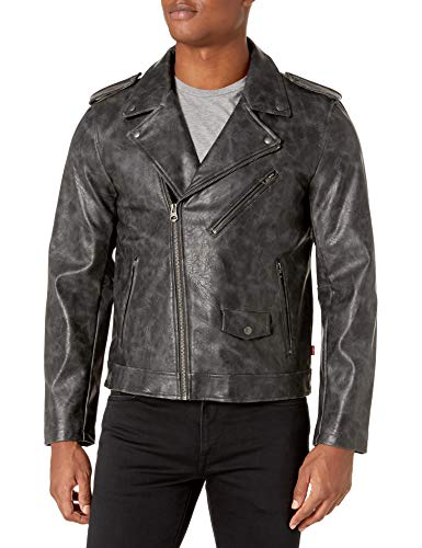 Levi's Men's Faux Leather Motorcycle Jacket, Black Stretch Pull Up, Small
