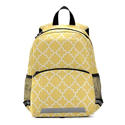 Mnsruu Sac à dos pour enfant, motif géométrique en treillis pour école maternelle ou maternelle - Jaune