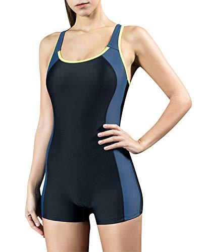 StarTreene Women's One Piece Swimsuits Boyleg Sports Swimwear Bathing Suit Black-Navy-Yellow M