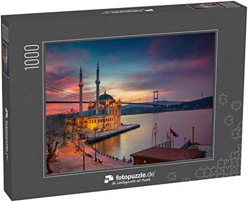 fotopuzzle.de Puzzle 1000 Teile Istanbul. Bild der Ortakoy-Moschee mit Bosporusbrücke in Istanbul bei schönem Sonnenaufgang (1000, 200 oder 2000 Teile)