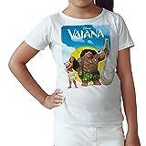Camiseta Niña - Unisex Dibujos Animación, Vaiana y Moana (Blanco, 3 años)