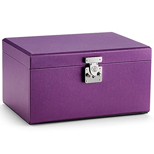 XYF Jewellery Box Large capacity jewelry box with lock black High-end jewellry jewelry box wedding gifts Portable Travel Case, for Rings, Bracelets, Earrings (Color : Purple, Size : 33x23x18 cm)