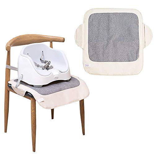 Funbliss Booster Chair Seat Protector,Booster Chair Protector Cover,Non-Slip PVC Backing,Upgrade 600D Waterproof Material,Easy to Wipe Clean(Beige + Gray)