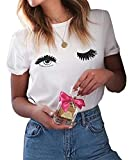 ROSEPARK Women Funny Printing Graphic T Shirt White Small