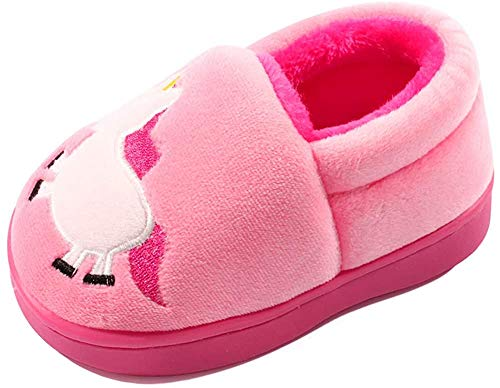 LACOFIA Pantuflas Antideslizante de Invierno para niñas Zapatillas de casa de Peluche cálida para niñas Rosa 21/22