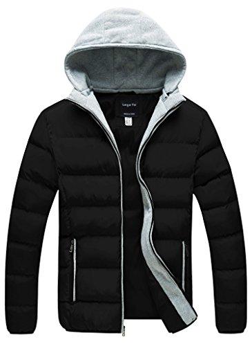 Lega Mens Warm Casual Hoodie Coat Winter Outwear Puffer Down Jacket Black X-Large