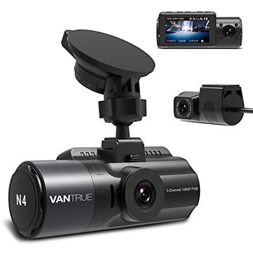 Vantrue N4 3 Channel Dash Cam, 4K+1080P Dual Channel, 1440P+1080P+1080P Front Inside Rear Three Way Triple Car Dash Camera, IR Night Vision, Capacitor, 24 Hours Parking Mode, Support 256GB Max