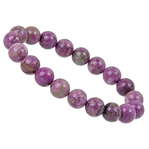 ELEDORO PowerBead - Pulsera elástica de perlas de piedras preciosas, 10 mm, color gris