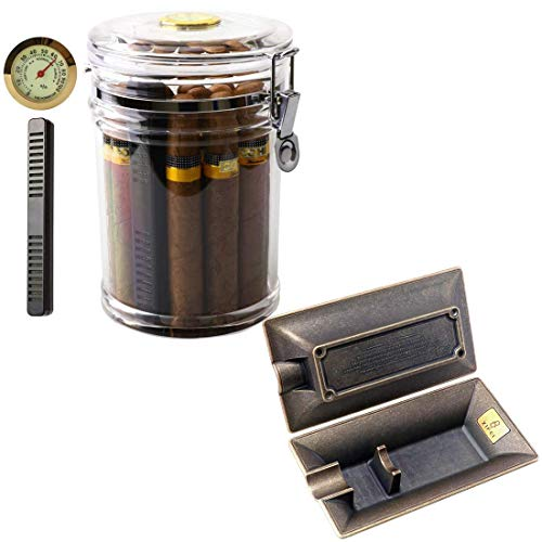 XIFEI Acrylic Humidor Jar and Fashion Vintage Cigar Ashtray
