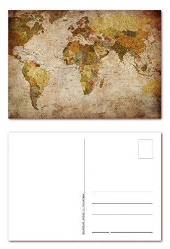 12 Stück Postkarten altertümliche Weltkarte Ansichtskarten im DIN A6 Format ( PKT-141 )
