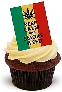 Baking Bling Keep Calm & Smoke Weed - Standups 12 Edible Standup Premium Wafer Cake Toppers - 2 x A5 Sheet - 12 Images
