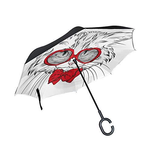Lindo Gracioso Gato Blanco Paraguas Invertido Doble Capa Inverso Reverso con Mango en Forma de C Paraguas de Plegado para Automóviles en Exteriores