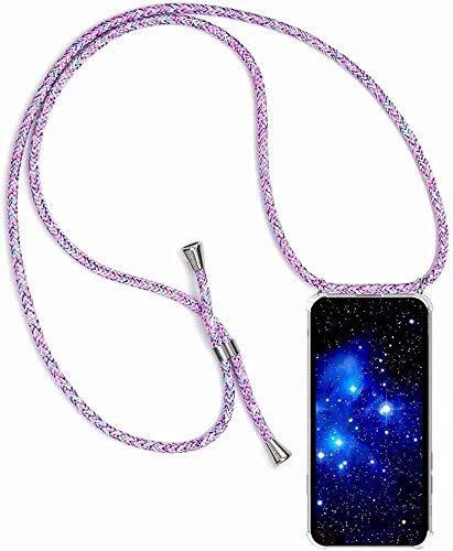 Bigcousin Funda con Cuerda Compatible con Huawei Honor 8X,Transparente de TPU con Ajustable Collar Cadena Cordón,Multicolor