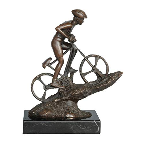 WYXMJ Man Riding Mountain Bike Bronze Sculpture Male Cyclist Statue Sport Figurine Art Home Desk Decoration Gifts-Bronze