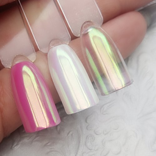 Aurora Chrome Pigment Glitter Glitzer Puder Weiss Nailart