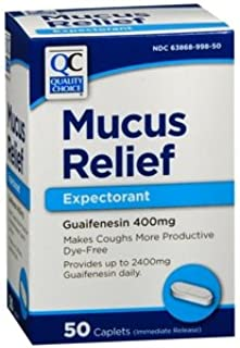 Quality Choice Mucus Relief Expectorant 50 Caplets Each (Pack of 3)
