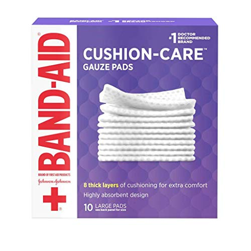 Band-Aid Brand Large Gauze Pads, 4 Inch By 4 Inch, 10 Count (Pack of 6)