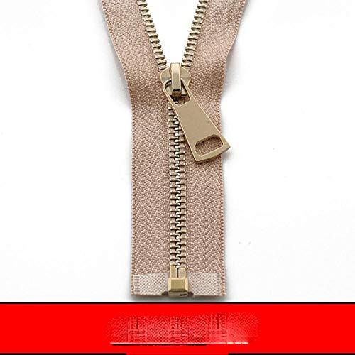 5 # 60/70/80/90/100/120/150 cm Cremallera de metal abierta Auto Lock Oro rosa para coser ropa cremalleras-albaricoque, 5#, 150cm