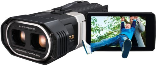 JVC GS-TD1BEU Full HD 3D Camcorder (64 GB interner Speicher, 8,9 cm (3,5 Zoll) 3D Touch Screen Display) schwarz